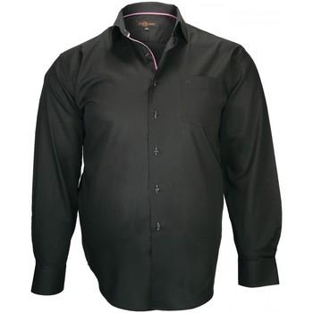 Vêtements Homme Chemises manches longues Doublissimo chemise tissu armure lugano noir Noir