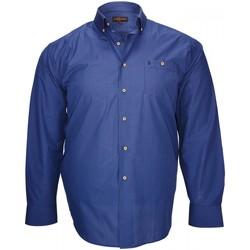 Vêtements Homme Chemises manches longues Doublissimo chemise a carreaux deauville bleu Bleu