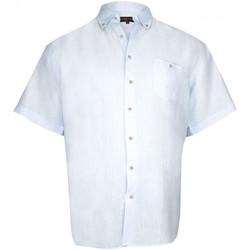 Vêtements Homme Chemises manches courtes Doublissimo chemisette 100% lin monte carlo bleu Bleu