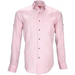Vêtements Homme Chemises manches longues Andrew Mc Allister chemise 100% lin gao rose Rose