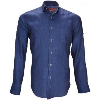 Vêtements Homme Chemises manches longues Andrew Mc Allister chemise 100% lin gao bleu Bleu