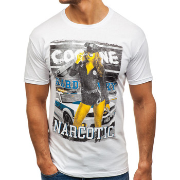 Vêtements Homme T-shirts & Polos Monsieurmode T-shirt fashion pour homme T-shirt M101 blanc Blanc