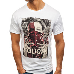 Vêtements Homme T-shirts & Polos Monsieurmode T-shirt imprimé et fashion T-shirt M103 blanc Blanc