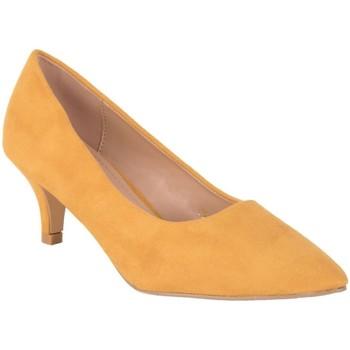 Chaussures escarpins Primtex Escarpins pointus jaune moutarde aspect daim et talon bas 4cm