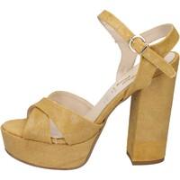 Chaussures Femme Sandales et Nu-pieds Geneve Shoes chaussures femme  sandales jaune textile BZ892 jaune