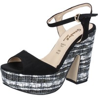 Chaussures Femme Sandales et Nu-pieds Geneve Shoes chaussures femme  sandales noir daim BZ893 noir