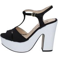 Chaussures Femme Sandales et Nu-pieds Geneve Shoes chaussures femme  sandales noir daim blanc BZ897 multicolor