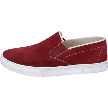 Chaussures Homme Slip ons Nyon chaussures homme  slip on bordeaux daim BZ901 rouge