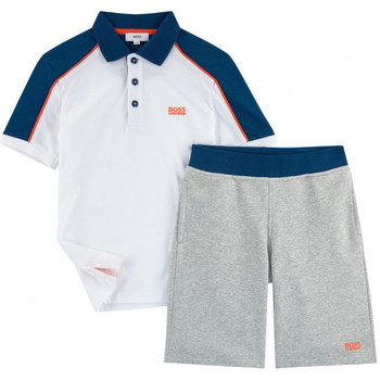 Vêtements Garçon Ensembles enfant Hugo Boss Junior Junior Ensemble polo et bermuda Hugo Boss Cadet - Ref. J28060-10B Blanc