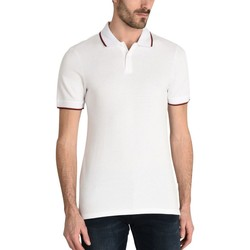 Vêtements Homme Polos manches courtes Armani Exchange POLO PIPING COL BLANC