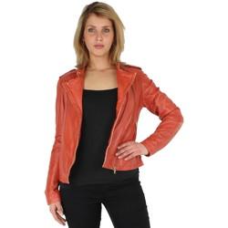 Vêtements Vestes / Blazers Oakwood Blouson style perfecto  Summertime en cuir ref_cco30292 Corail rouge