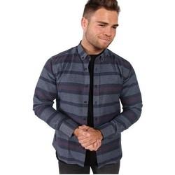 Vêtements Homme Chemises manches longues Kronstadt DEAN FLANNEL STRIPE Bleu