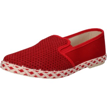 Chaussures Homme Slip ons Ceffenero chaussures homme CAFFEnoir slip on rouge toile AE159 rouge
