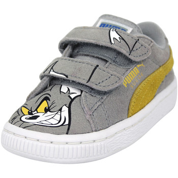 Chaussures Garçon Baskets basses Puma SUEDE TOM AND JERRY SHOES Chaussures Mode Sneakers Enfant Cuir gris
