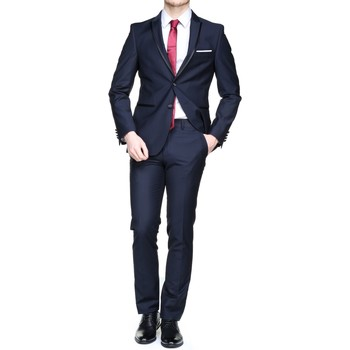 Vêtements Homme Costumes  Leader Mode Nf132455 Sacha Col Pointe Navy Bleu