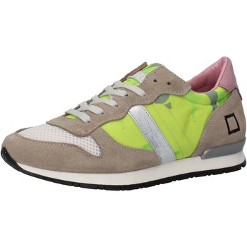 Chaussures Femme Baskets basses Date D.A.T.E. sneakers jaune textile beige daim AE573 jaune
