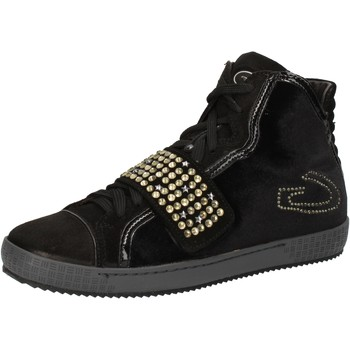 Chaussures Femme Baskets montantes Guardiani sneakers noir velours daim strass AE827 noir