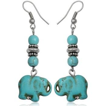 Montres & Bijoux Femme Boucles d'oreilles Blue Pearls Boucles d'oreilles Pendantes Elephant en Turquoise Multicolore