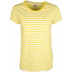 Vêtements Femme T-shirts manches courtes Tommy Jeans T-shirt col rond  rayé jaune et blanc pour femme Multicolore