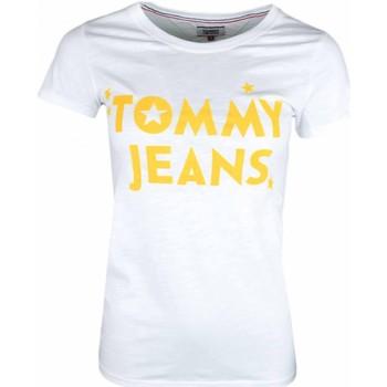 Vêtements Femme T-shirts manches courtes Tommy Jeans T-shirt col rond  blanc inscription jaune pour femme Blanc