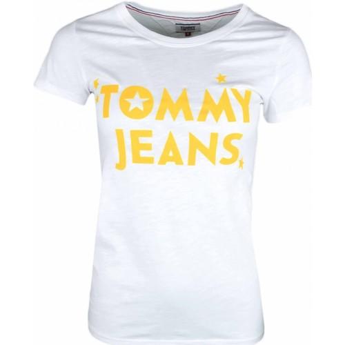6a09f393ddc1f Vêtements Femme T-shirts manches courtes Tommy Jeans T-shirt col rond blanc  inscription