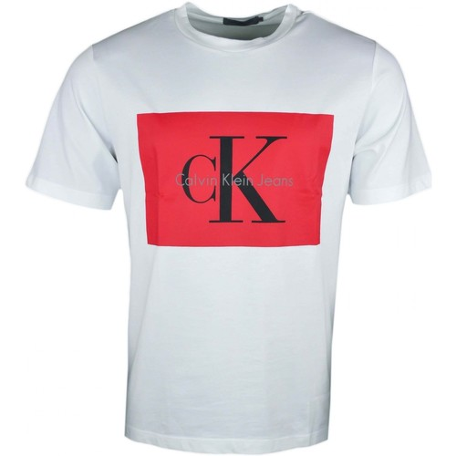 75c3cb9bf T-shirt col rond blanc flocage rouge pour homme