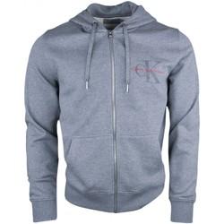 Vêtements Homme Sweats Calvin Klein Jeans Sweat zippé à capuche  gris logo gomme pour homme Gris