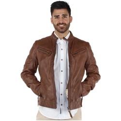 Vêtements Blousons Redskins Blouson  Lynch Casting en cuir ref_trk37824 Cognac marron