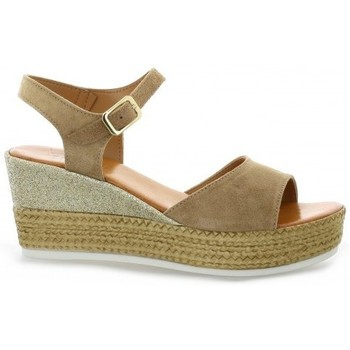Pao Nu pieds cuir velours Taupe - Chaussures Espadrilles Femme