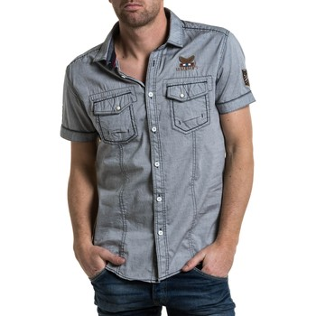 Vêtements Homme Chemises manches longues Legenders Chemisette grise poche poitrine et patch aviation gris