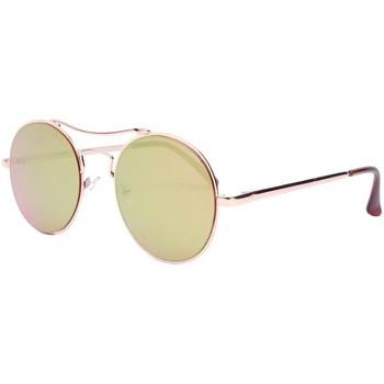 e416b999de575 Montres   Bijoux Lunettes de soleil Eye Wear Lunettes de soleil miroir  rondes dorées Need Jaune