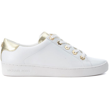 Chaussures Femme Baskets basses MICHAEL Michael Kors Basket  Irving en cuir blanc et or Blanc