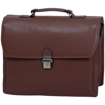 Sacs Homme Porte-Documents / Serviettes Katana Cartable 3 soufflets Cuir de Vachette graine K 69329 Chocolat
