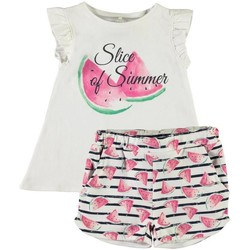 Vêtements Fille T-shirts manches courtes Name It Kids NMFZIDAFIE SHORTSSET Blanc
