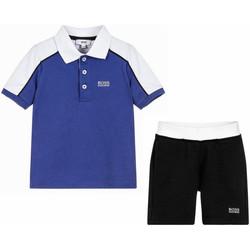 Vêtements Garçon Ensembles enfant HUGO Ensemble polo et bermuda Hugo Boss Cadet - Ref. J28060-861 Bleu