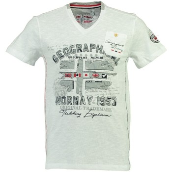 Vêtements Homme T-shirts manches courtes Geographical Norway Tshirt Homme Jouri Blanc