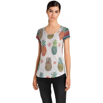Vêtements Femme Polos manches courtes Desigual T Shirt Camille Blanc 18SWTKGZ 1
