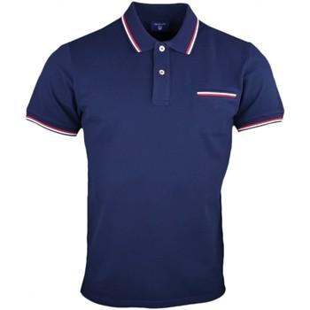 Vêtements Homme Polos manches courtes Gant Polo  basique bleu marine lisérés rouge et blanc pour homme Bleu