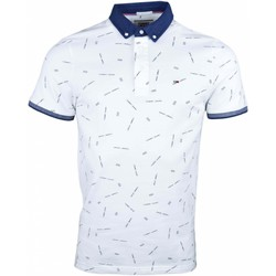 Vêtements Homme Polos manches courtes Tommy Jeans Polo  imprimé logos pour homme Blanc