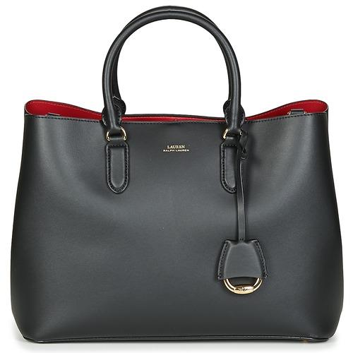 Sacs Femme Sacs porté main Lauren Ralph Lauren DRYDEN MARCY SATCHEL LARGE Noir / Rouge