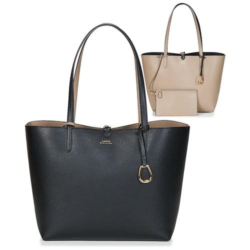 Sacs Femme Cabas / Sacs shopping Lauren Ralph Lauren MERRIMACK REVERSIBLE TOTE MEDIUM Noir / Taupe