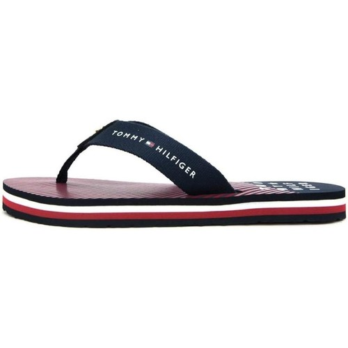 Tommy Hilfiger ESSENTIAL STRIPE BEACH SANDAL Rouge - Chaussures Tongs Femme
