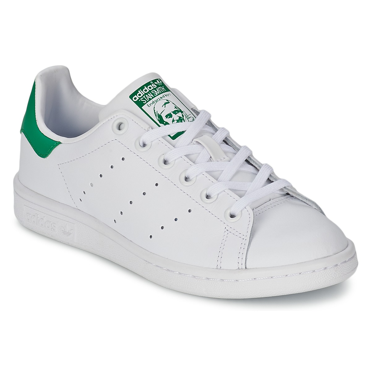 adidas originals stan smith j blanc vert chaussures baskets basses enfant 58 30. Black Bedroom Furniture Sets. Home Design Ideas
