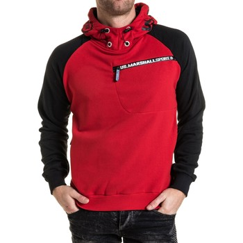 Vêtements Homme Sweats U.S Marshall Sweat noir et rouge à capuche logo rouge