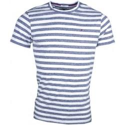 Vêtements Homme T-shirts manches courtes Tommy Jeans T-hirt col rond  rayé gris et blanc pour homme Bleu