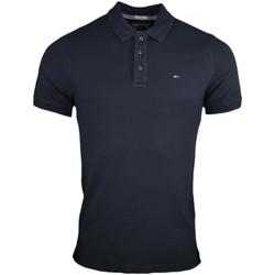Vêtements Homme Polos manches courtes Tommy Jeans Polo  basique noir slim fit pour homme Noir