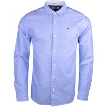 Vêtements Homme Chemises manches longues Tommy Jeans Chemise  bleu ciel à motifs régular pour homme Bleu