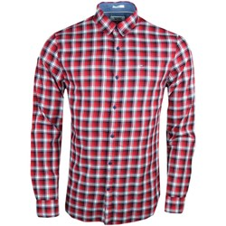 Vêtements Homme Chemises manches longues Tommy Jeans Chemise  à carreaux rouge slim fit pour homme Rouge