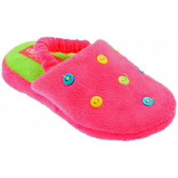Chaussures Enfant Chaussons De Fonseca Button Art Pantoufles Rose