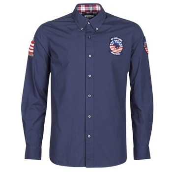 Vêtements Homme Chemises manches longues U.S Polo Assn. USA PATCH SHIRT BD Marine